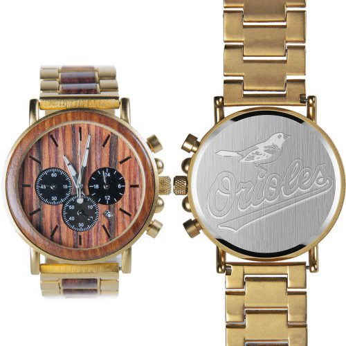 MLB Baltimore Orioles Gold Metal and Wood Watch - Wrist Watch