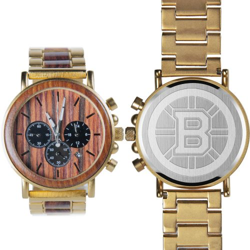 NHL Boston Bruins Gold Metal and Wood Watch - Wrist Watch