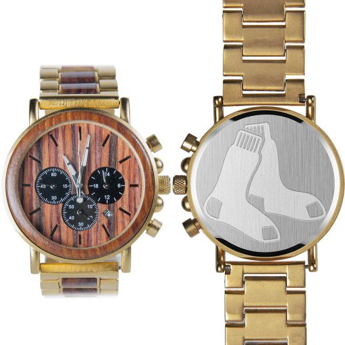 MLB Boston Red Sox Gold Metal and Wood Watch - Wrist Watch