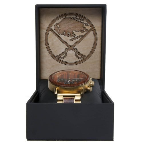 NHL Buffalo Sabres Gold Metal and Wood Watch - Wrist Watch