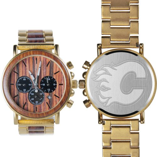 NHL Calgary Flames Gold Metal and Wood Watch - Wrist Watch