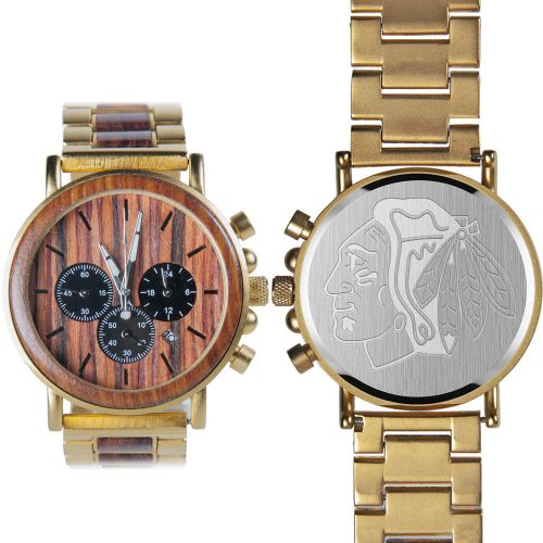 NHL Chicago Blackhawks Gold Metal and Wood Watch - Wrist Watch