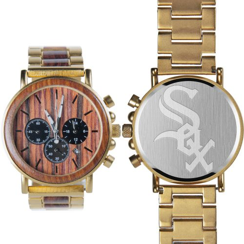 MLB Chicago White Sox Gold Metal and Wood Watch - Wrist Watch