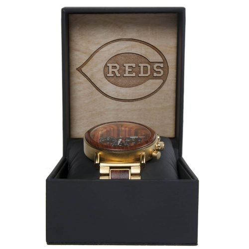 MLB Cincinnati Reds Gold Metal and Wood Watch - Wrist Watch
