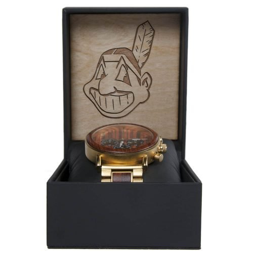 MLB Cleveland Indians Gold Metal and Wood Watch - Wrist Watch