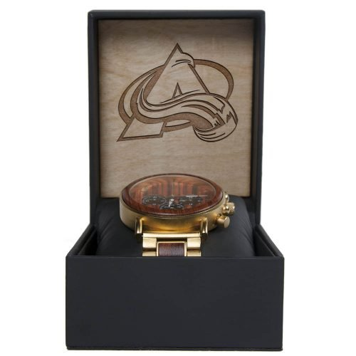 NHL Colorado Avalanche Gold Metal and Wood Watch - Wrist Watch