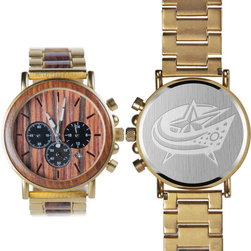 NHL Columbus Blue Jackets Gold Metal and Wood Watch - Wrist Watch