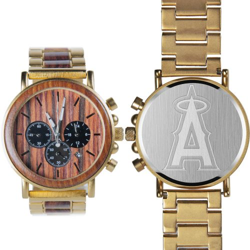 MLB Los Angeles Angels Gold Metal and Wood Watch - Wrist Watch