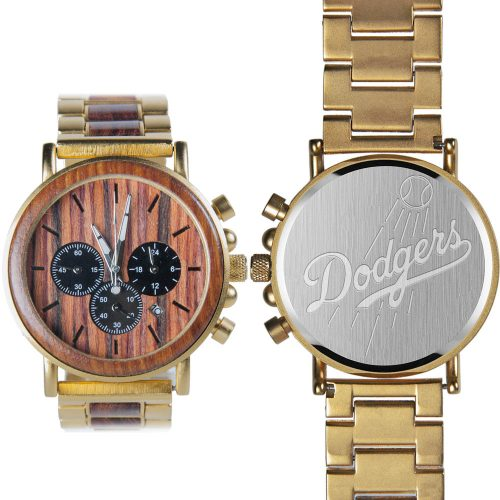 MLB Los Angeles Dodgers Gold Metal and Wood Watch - Wrist Watch