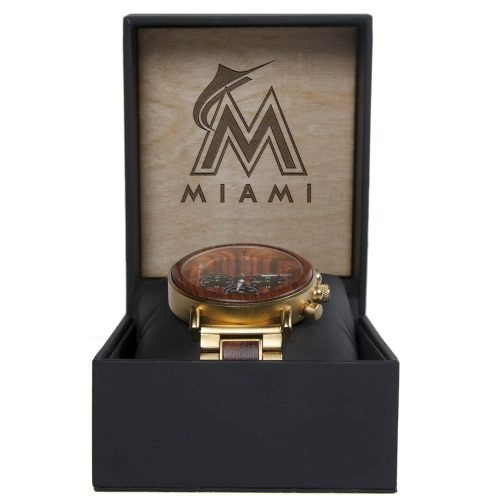 MLB Miami Marlins Gold Metal and Wood Watch - Wrist Watch