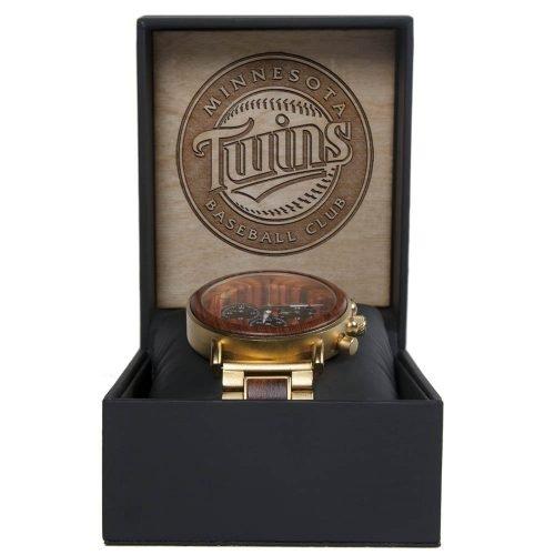 MLB Minnesota Twins Gold Metal and Wood Watch - Wrist Watch