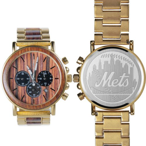 MLB New York Mets Gold Metal and Wood Watch - Wrist Watch