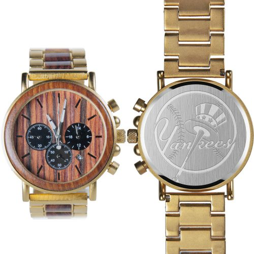 MLB New York Yankees Classic Gold Metal and Wood Watch - Wrist Watch