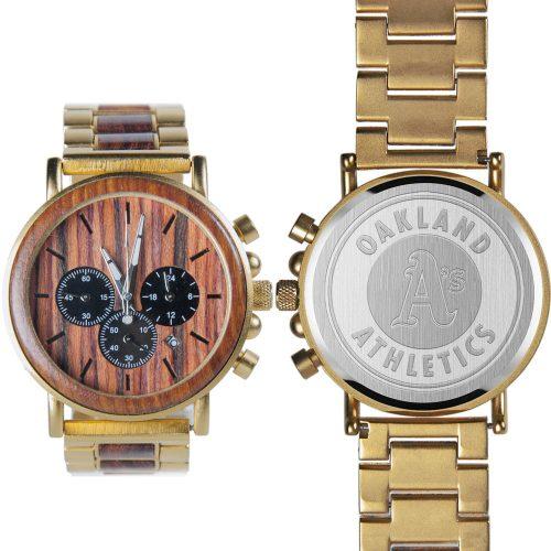 MLB Oakland Athletics Gold Metal and Wood Watch - Wrist Watch