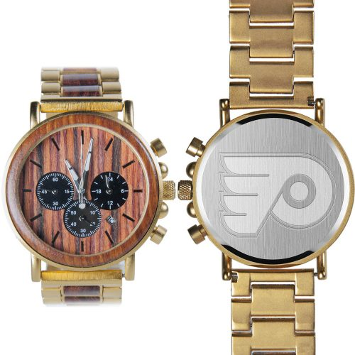 NHL Philadelphia Flyers Gold Metal and Wood Watch - Wrist Watch