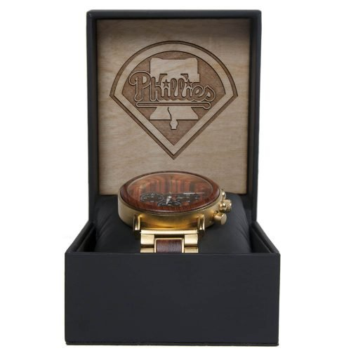MLB Philadelphia Phillies Gold Metal and Wood Watch - Wrist Watch