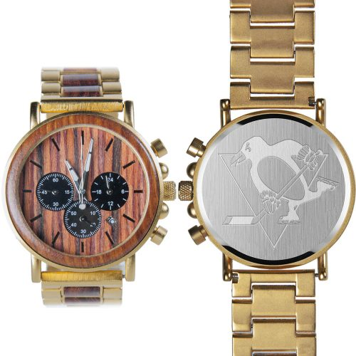 NHL Pittsburgh Penguins Gold Metal and Wood Watch - Wrist Watch