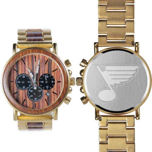 NHL St Louis Blues Gold Metal and Wood Watch - Wrist Watch