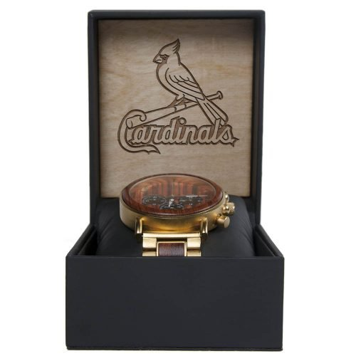 MLB St Louis Cardinals Gold Metal and Wood Watch - Wrist Watch