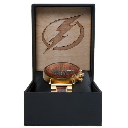 NHL Tampa Bay Lightning Gold Metal and Wood Watch - Wrist Watch