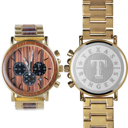 MLB Texas Rangers Gold Metal and Wood Watch - Wrist Watch