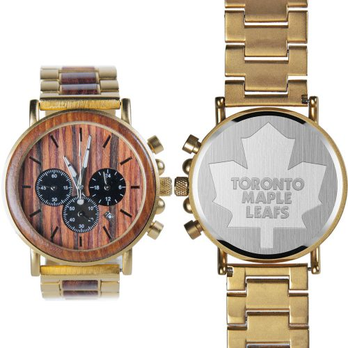 NHL Toronto Maple Leafs Gold Metal and Wood Watch - Wrist Watch