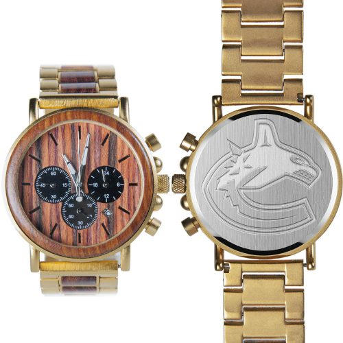 NHL Vancouver Canucks Gold Metal and Wood Watch - Wrist Watch