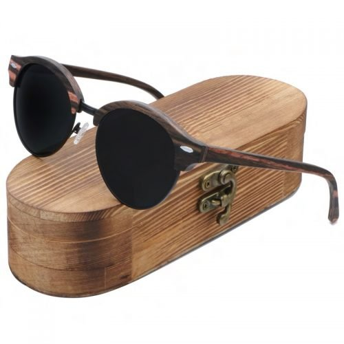 Best Mens Wooden Sunglasses Handmade Black Mahogany Browline Clubmaster Wood Sunglasses Inside Cloth