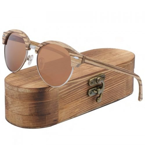 Best Womens Wooden Sunglasses Handmade Brown TigerEye Browline Clubmaster Wood Sunglasses