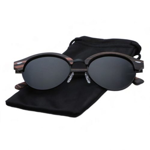 Mens Wooden Sunglasses Handmade Black Mahogany Browline Clubmaster Real Wood Sunglasses Inside Cloth