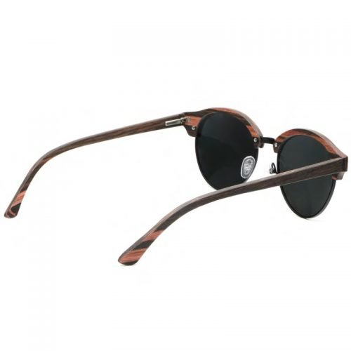 Mens Wooden Sunglasses Handmade Black Mahogany Browline Clubmaster Real Wood Sunglasses Inside