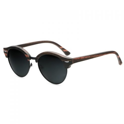 Mens Wooden Sunglasses Handmade Black Mahogany Browline Clubmaster Real Wood Sunglasses Inside Left