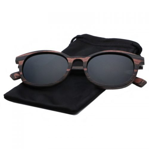 Mens Wooden Sunglasses Handmade Black Mahogany Wayfarer Real Wood Sunglasses Cloth