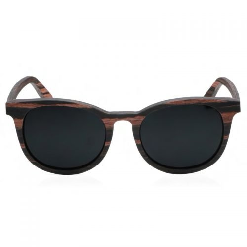 Mens Wooden Sunglasses Handmade Black Mahogany Wayfarer Real Wood Sunglasses Front