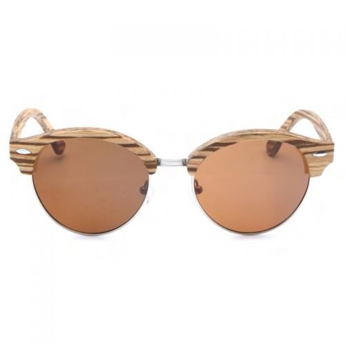 Womens Wooden Sunglasses Handmade Brown TigerEye Browline Clubmaster Wood Sunglasses Front