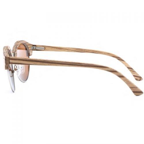 Womens Wooden Sunglasses Handmade Brown TigerEye Browline Clubmaster Wood Sunglasses Side