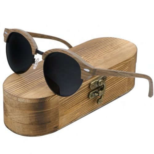 Best Mens Wooden Sunglasses Handmade Dark Coffee Browline Wood Sunglasses