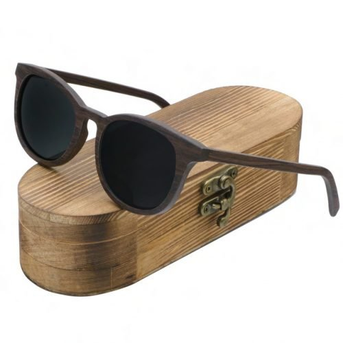 Mens Wooden Sunglasses Handmade Dark Coffee Walnut Wayfarer Wood Sunglasses