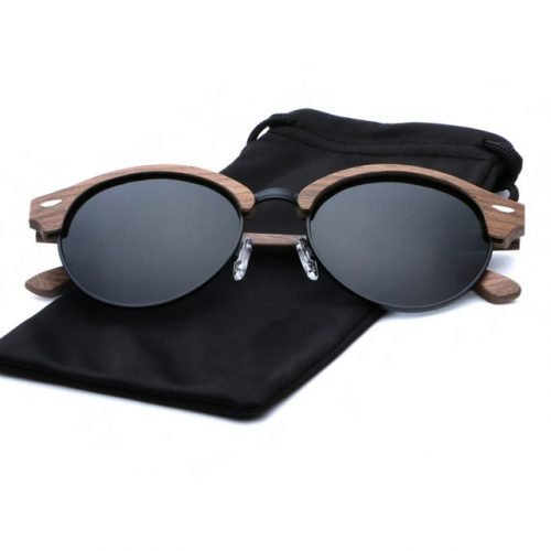 Mens Wooden Sunglasses Handmade Dark Coffee Browline Clubmaster Wood Sunglasses Cloth