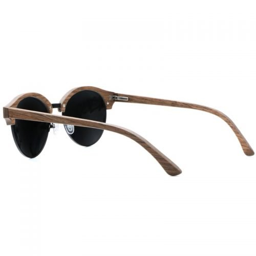 Mens Wooden Sunglasses Handmade Dark Coffee Browline Clubmaster Real Wood Sunglasses Inside
