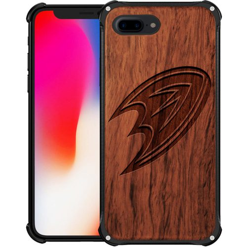 Anaheim Ducks iPhone 8 Plus Case - Hybrid Metal and Wood Cover