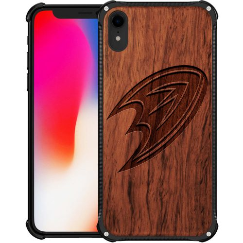 Anaheim Ducks iPhone XR Case - Hybrid Metal and Wood Cover