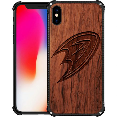 Anaheim Ducks iPhone XS Max Case - Hybrid Metal and Wood Cover