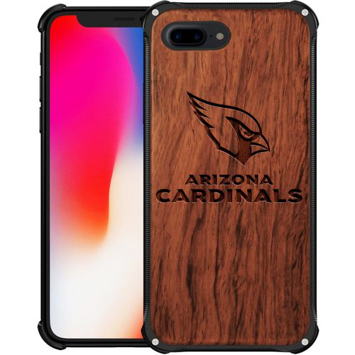 Arizona Cardinals iPhone 8 Plus Case - Hybrid Metal and Wood Cover