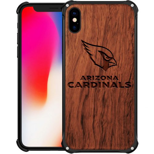 Arizona Cardinals iPhone X Case - Hybrid Metal and Wood Cover