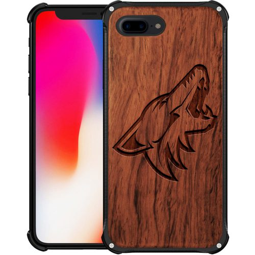 Arizona Coyotes iPhone 8 Plus Case - Hybrid Metal and Wood Cover