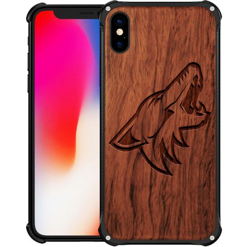 Arizona Coyotes iPhone X Case - Hybrid Metal and Wood Cover