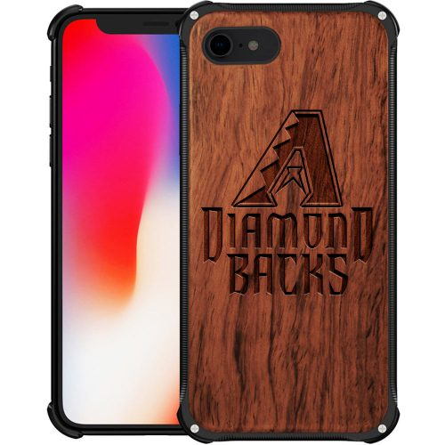 Arizona Diamondbacks iPhone 7 Case - Hybrid Metal and Wood Cover