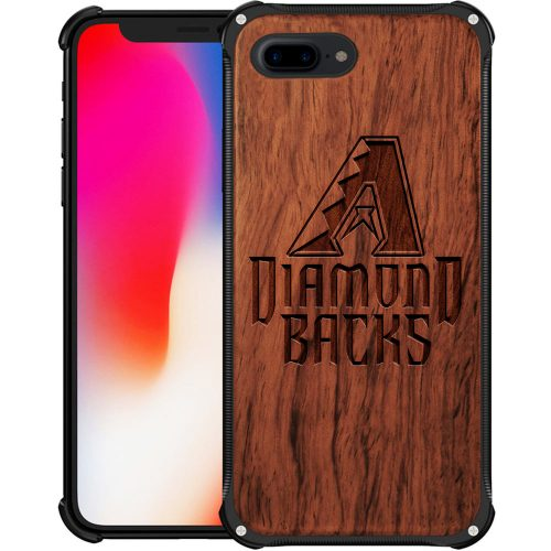 Arizona Diamondbacks iPhone 8 Plus Case - Hybrid Metal and Wood Cover