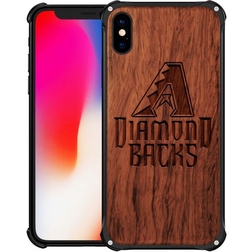 Arizona Diamondbacks iPhone XS Case - Hybrid Metal and Wood Cover